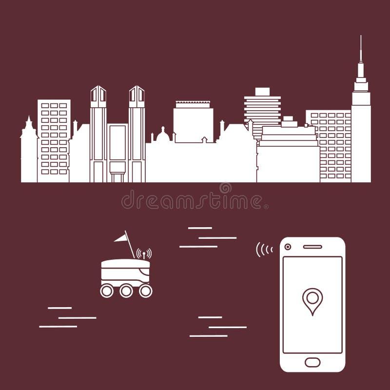 La livraison dans la ville avec un robot la distribution libèrent illustration stock