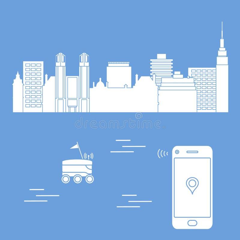 La livraison dans la ville avec un robot la distribution libèrent illustration de vecteur