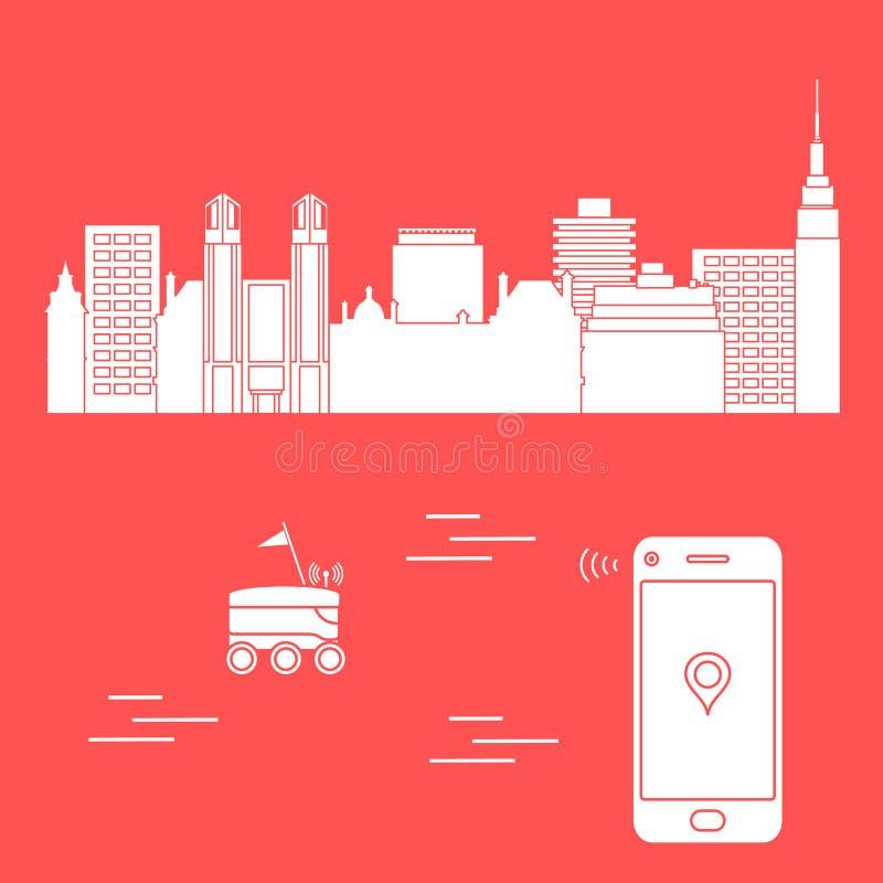 La livraison dans la ville avec un robot la distribution libèrent illustration libre de droits