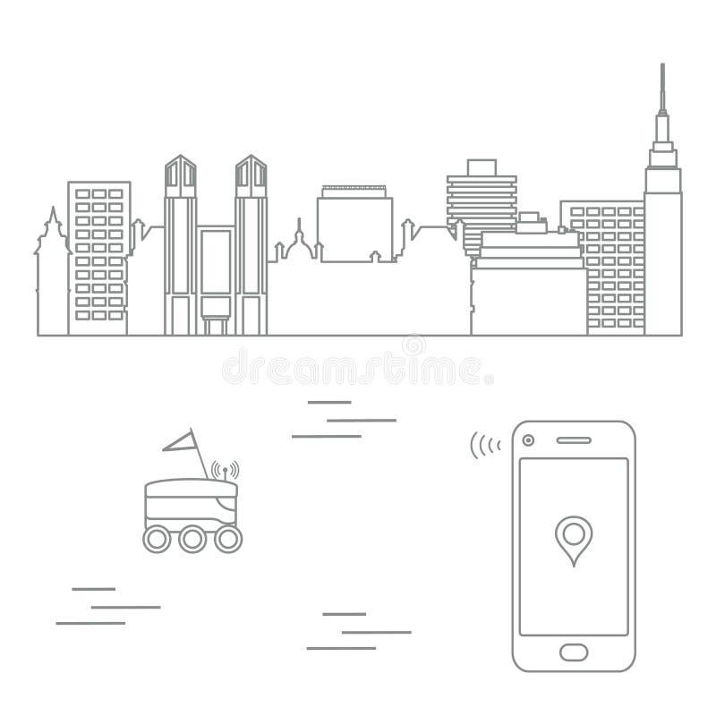 La livraison dans la ville avec un robot Exp?dition rapide et commode la distribution lib?rent illustration libre de droits