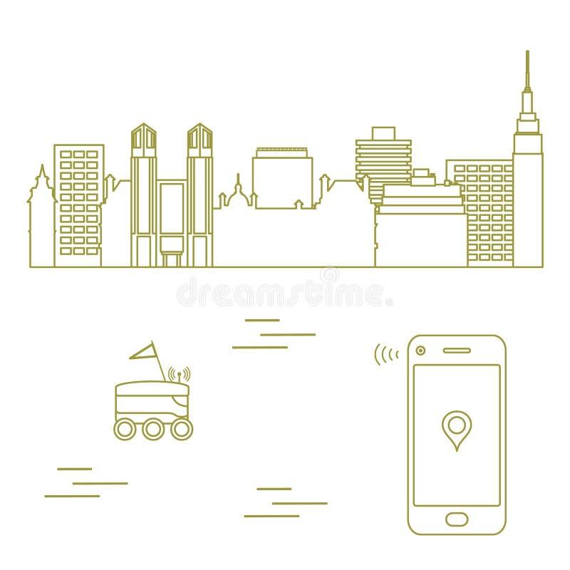 La livraison dans la ville avec un robot Exp?dition rapide et commode la distribution lib?rent illustration stock