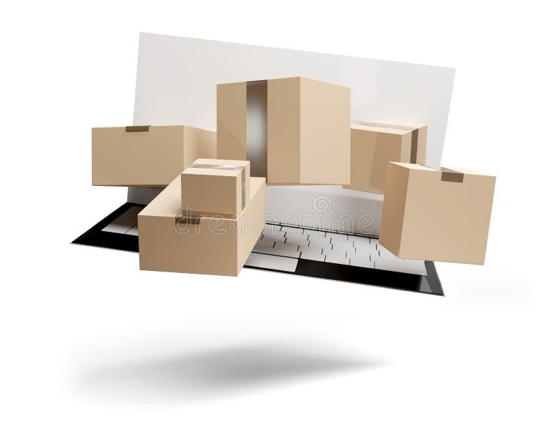 La livraison de achat en ligne 3d-illustration de paquets illustration stock