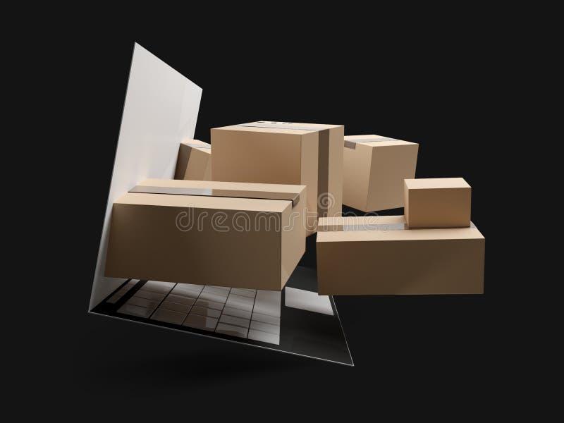La livraison de achat en ligne 3d-illustration de paquets illustration de vecteur