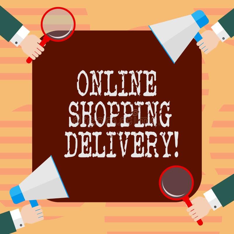 La livraison de achat en ligne des textes d'écriture de Word Concept d'affaires pour le processus d'embarquer un article d'achat  illustration libre de droits