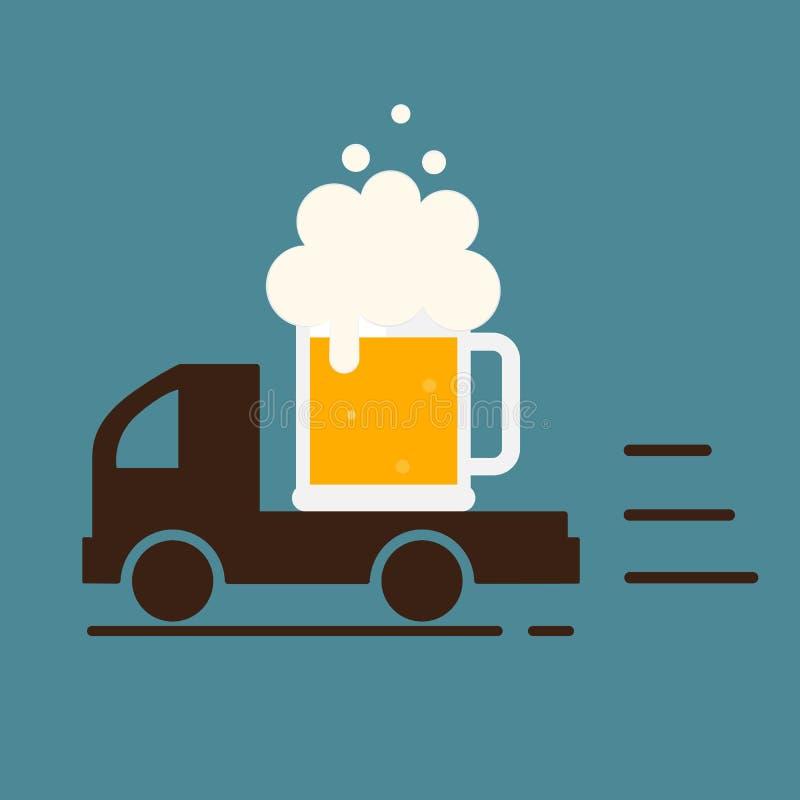 La livraison de bière Logo de calibre de symbole illustration stock