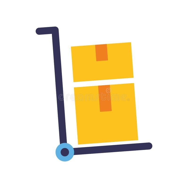La livraison de boîtes en carton de chariot de main illustration de vecteur