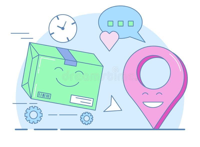La livraison de cadeau, boîte emballée et symbole de geolocation photos libres de droits