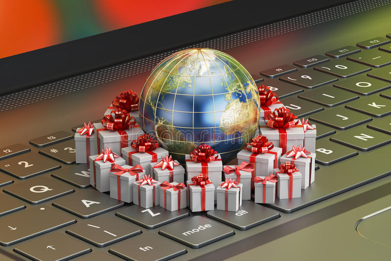 La livraison de cadeau et concept en ligne global d'achats, la terre avec le GIF illustration stock
