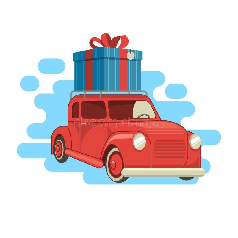 La livraison de cadeau La voiture porte un cadeau Illustration de vecteur illustration de vecteur