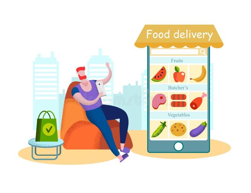 La livraison de nourriture d'Eco d'ordre de client utilisant l'appli mobile illustration libre de droits