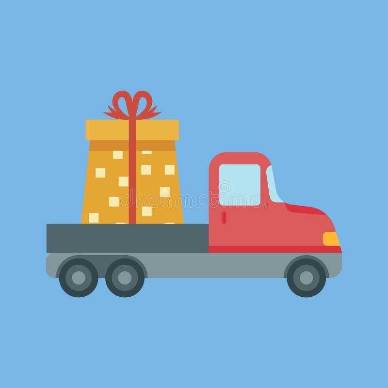 La livraison de voiture avec le boîte-cadeau Le concept de l'expédition gratuite illustration stock
