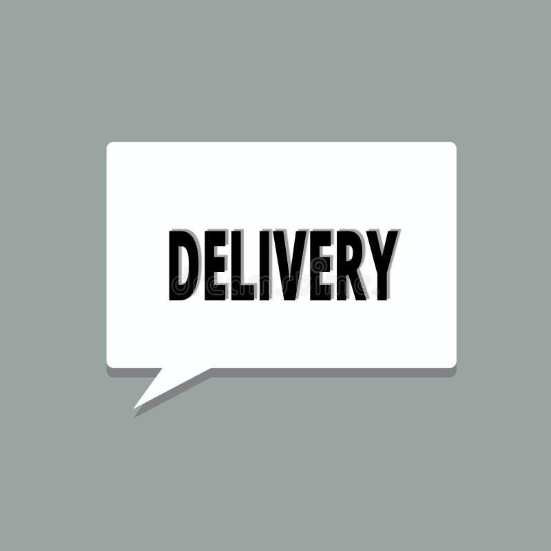 La livraison des textes d'écriture Concept signifiant l'action de livrer des colis ou des marchandises de lettres donnant naissan illustration libre de droits