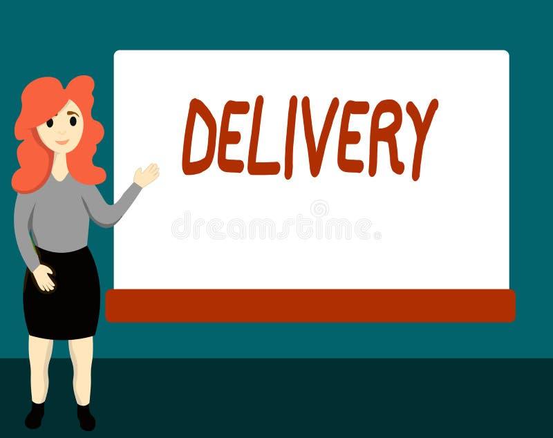 La livraison des textes d'écriture Concept signifiant l'action de livrer des colis ou des marchandises de lettres donnant naissan illustration stock