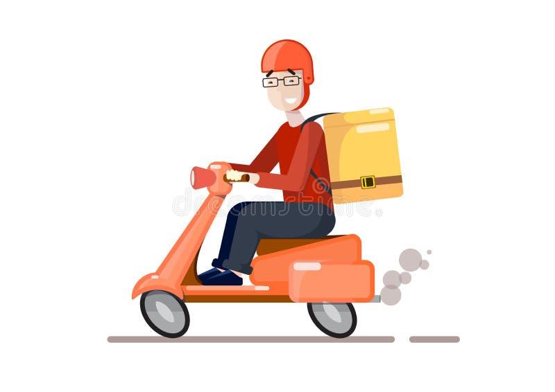 La livraison en le scooter Type de dessin anim? Illustration de dessin anim? de vecteur Service de traiteur illustration de vecteur
