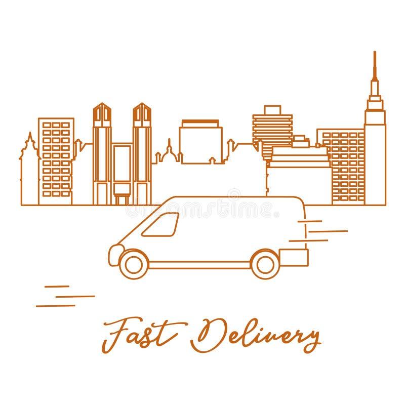 La livraison en la voiture dans la ville Exp?dition rapide et commode la distribution lib?rent illustration stock