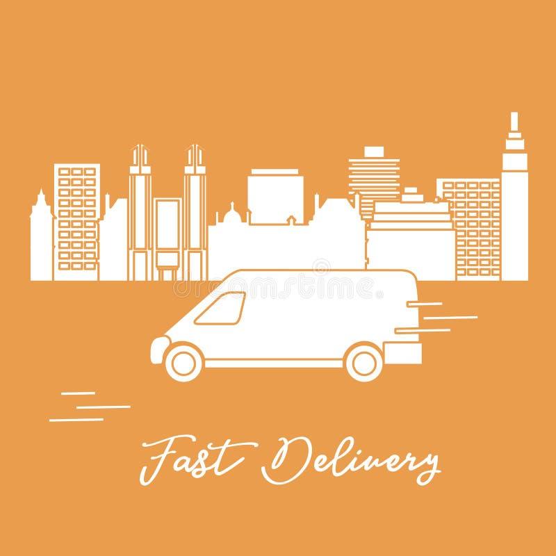 La livraison en la voiture dans la ville Exp?dition rapide et commode la distribution lib?rent illustration de vecteur