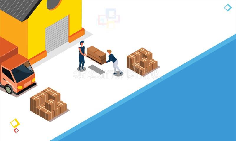 La livraison enferme dans une boîte prêt pour embarquer de l'entrepôt, boxe de cargaison illustration stock