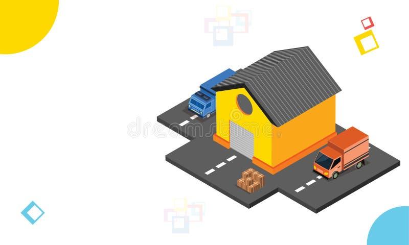 La livraison enferme dans une boîte prêt pour embarquer de l'entrepôt d isométrique illustration de vecteur