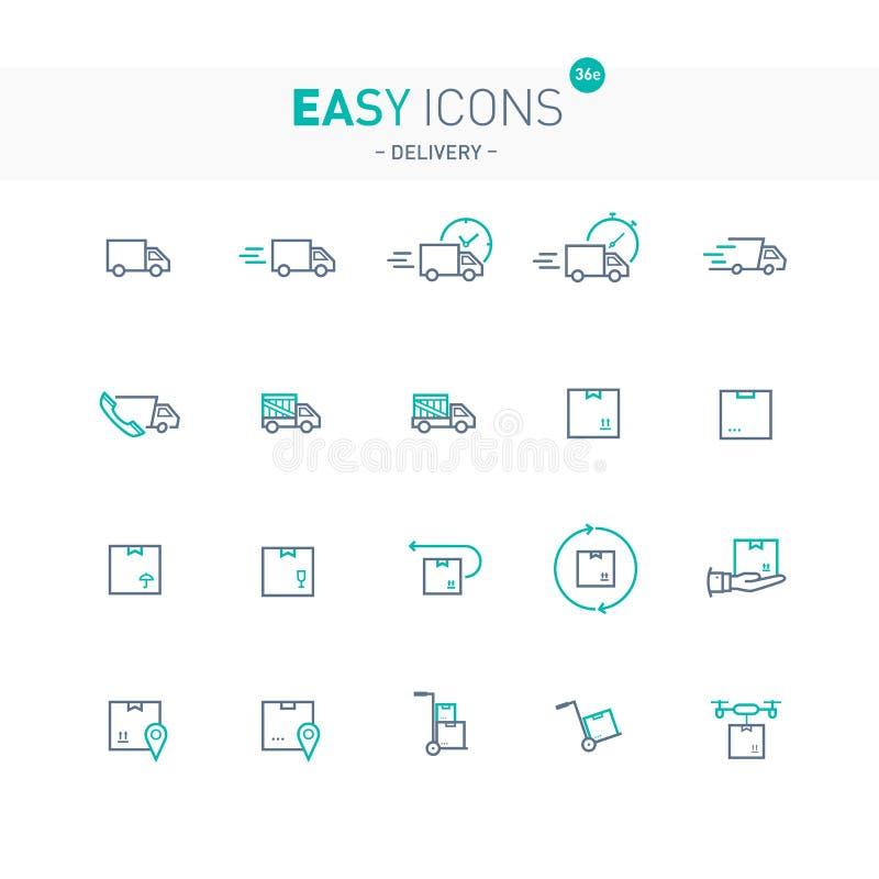La livraison facile des icônes 36e illustration stock