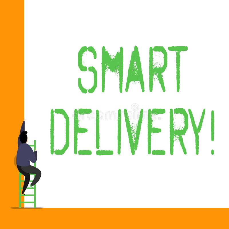 La livraison futée des textes d'écriture de Word Concept d'affaires pour la solution mobile pour livrer et transporter des marcha illustration de vecteur