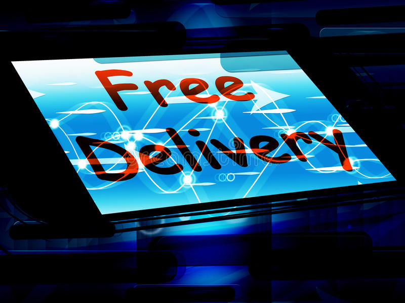 La livraison gratuite sur l'écran ne montre aucune charge ou la livre gratuitement illustration libre de droits