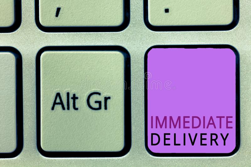 La livraison immédiate des textes d'écriture de Word Concept d'affaires pour Send il maintenant régime douanier à disposer prompt image libre de droits