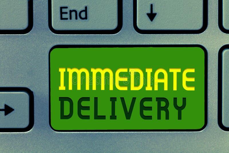 La livraison immédiate des textes d'écriture de Word Concept d'affaires pour Send il maintenant régime douanier à disposer prompt photo stock