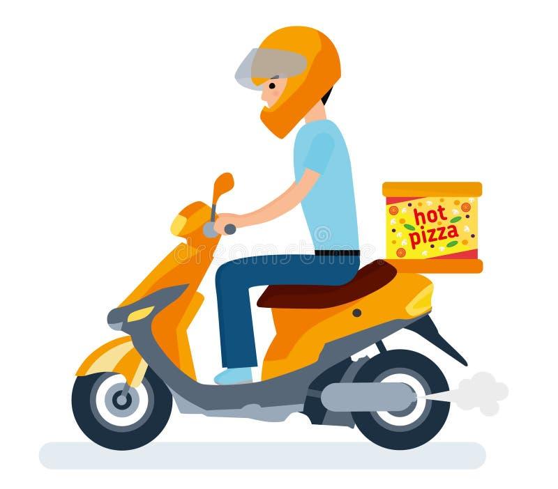 La livraison, le type sur le vélomoteur porte la pizza Personnages de dessin animé illustration stock