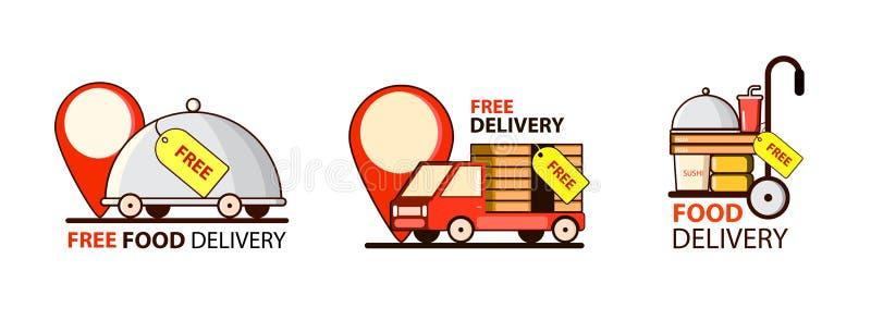 La livraison libre cheap Réglé avec la voiture et la nourriture Point, marque Vecteur illustration libre de droits