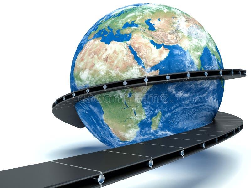 La livraison mondiale sur le convoyeur illustration stock
