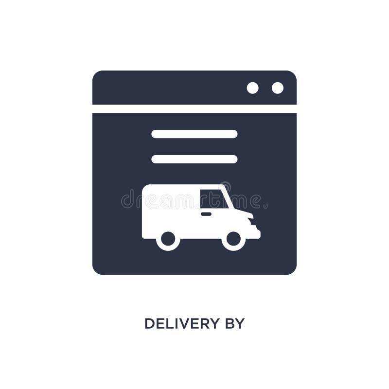 la livraison par l'icône de site Web sur le fond blanc Illustration simple d'élément de concept de la livraison et de logistique illustration de vecteur