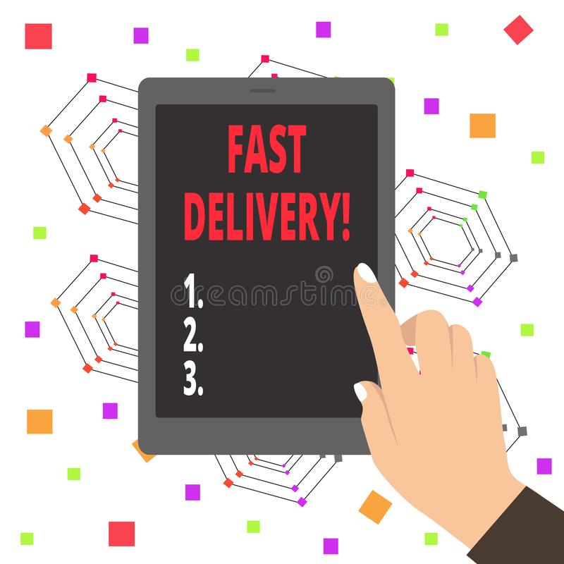 La livraison rapide des textes d'écriture de Word Concept d'affaires pour l'action exprès de livrer des lettres, des colis, ou bo illustration libre de droits