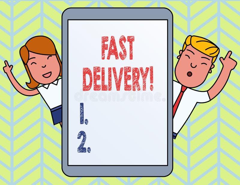 La livraison rapide des textes d'?criture de Word Concept d'affaires pour l'action expr?s de livrer des lettres, des colis, ou bo illustration de vecteur
