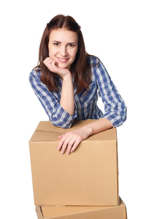 La livraison, relocalisation et concept de déballage image stock