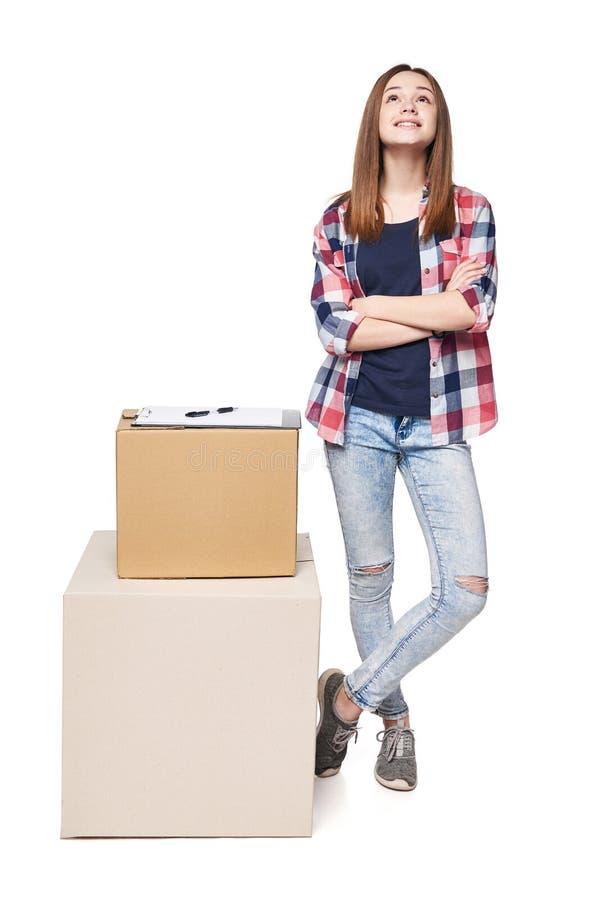 La livraison, relocalisation et déballage photographie stock