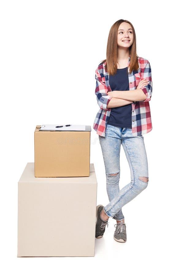 La livraison, relocalisation et déballage image libre de droits