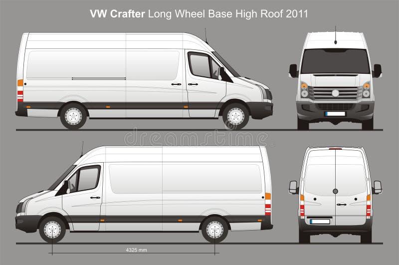 La livraison Van Blueprint de VW Crafter LWB illustration de vecteur