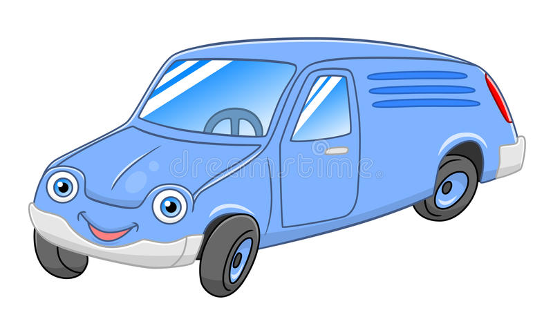 La livraison Van de bande dessinée illustration de vecteur