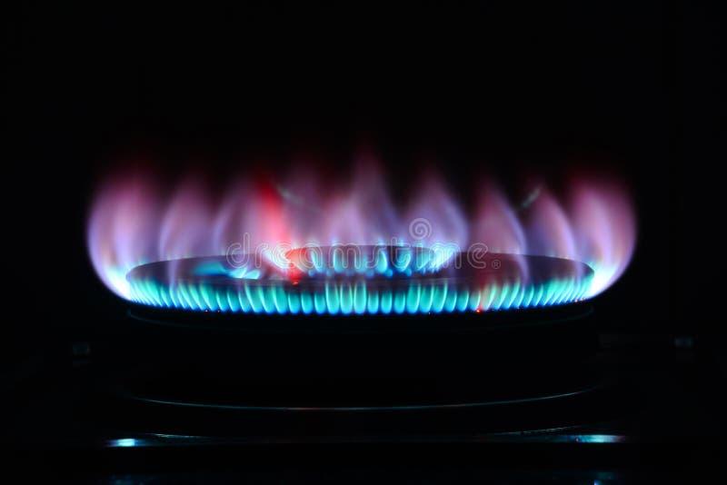 La llama azul de una hornilla de la cocina en la oscuridad imagen de archivo libre de regalías