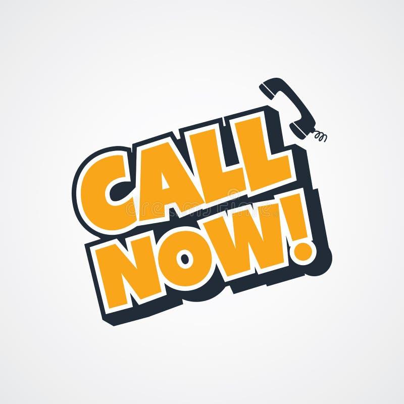 La llamada ahora firma stock de ilustración