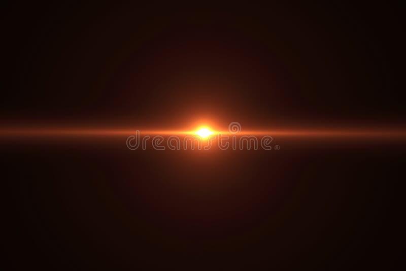 La llamarada brillante de la lente del color caliente del oro destella escape para las transiciones en fondo negro, títulos de la ilustración del vector