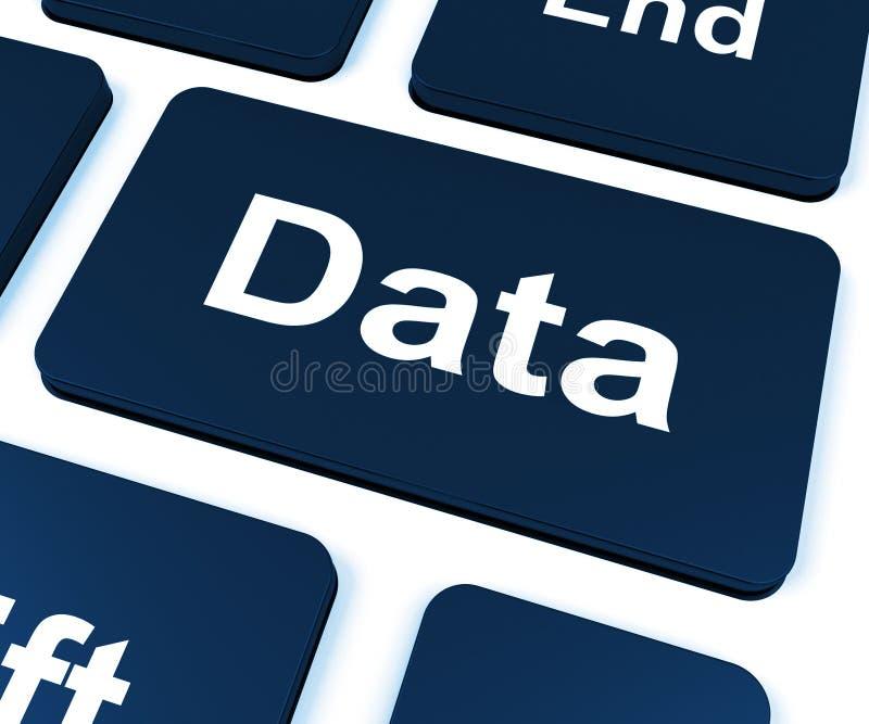 La llave de datos muestra conocimiento de la información de los hechos stock de ilustración