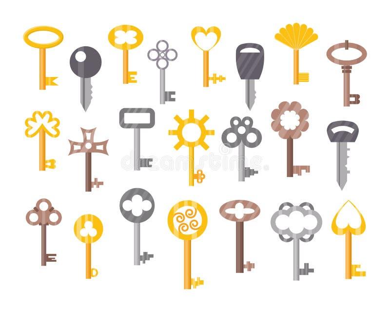 La llave de la puerta del vintage o de la antigüedad aisló la protección retra de la casa de la seguridad del metal de la herrami stock de ilustración