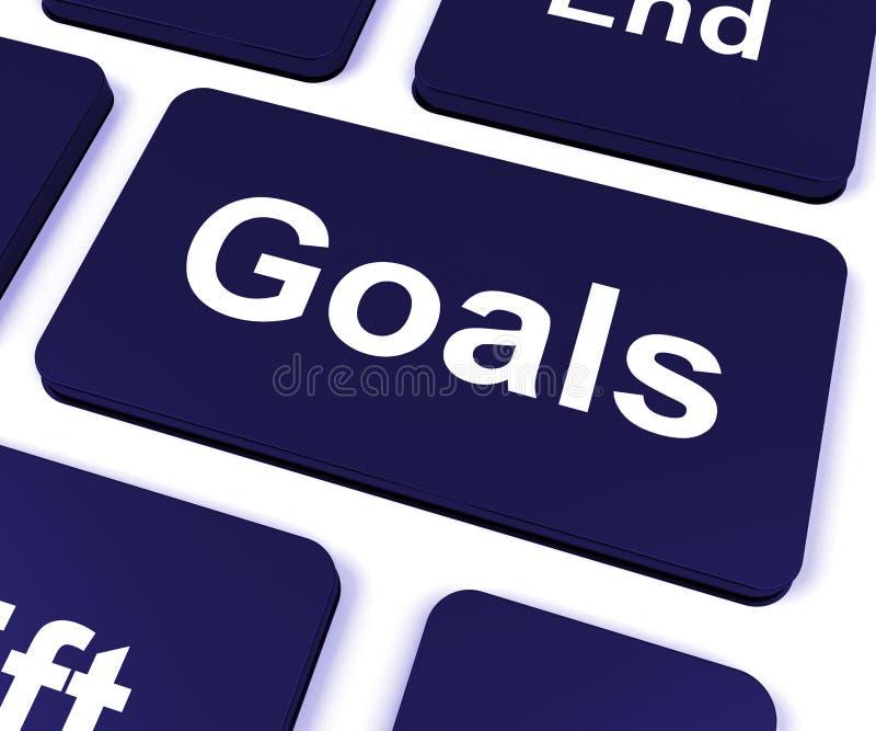 La llave de las metas muestra objetivos o aspiraciones de los objetivos ilustración del vector