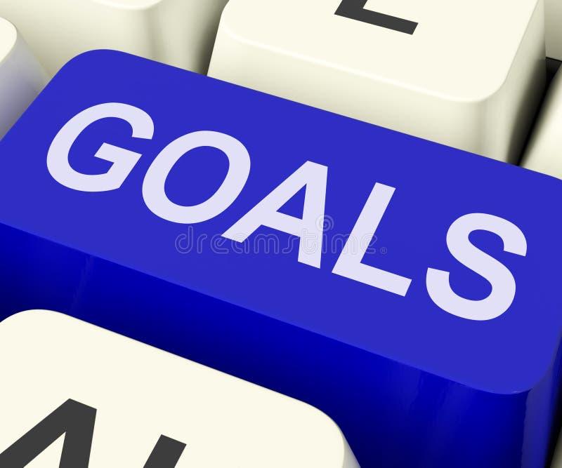 La llave de las metas muestra objetivos o aspiraciones de los objetivos imágenes de archivo libres de regalías