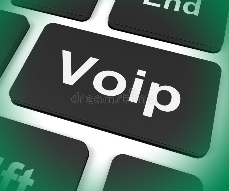 La llave de Voip significa voz sobre el protocolo IP o la banda ancha Telepho libre illustration