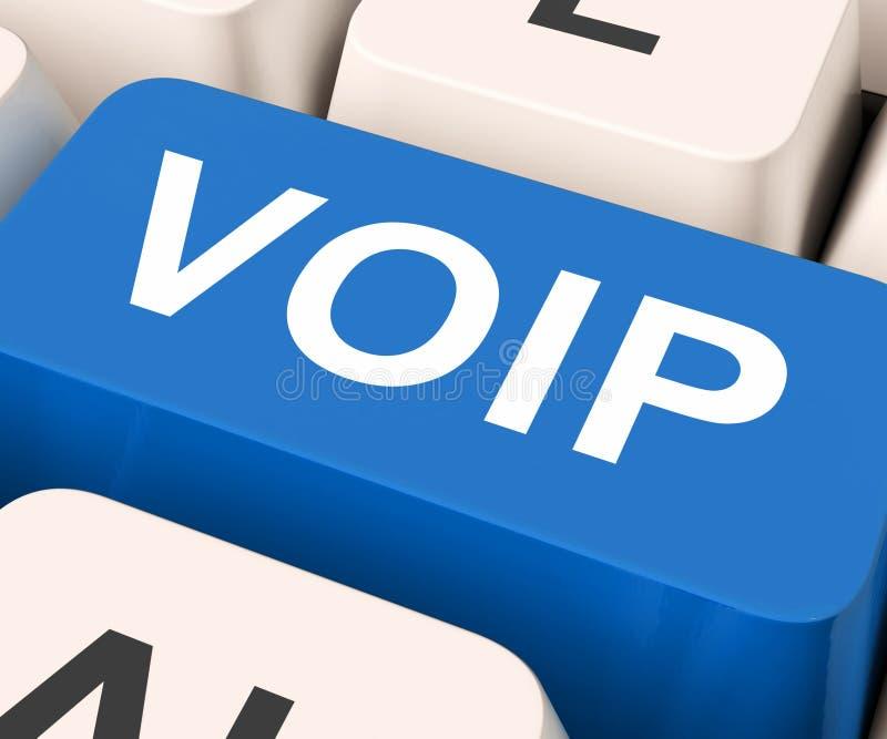 La llave de Voip significa voz sobre protocolo IP fotos de archivo libres de regalías