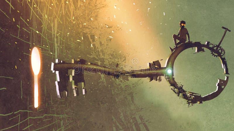 La llave grande que se mueve hacia el ojo de la cerradura libre illustration
