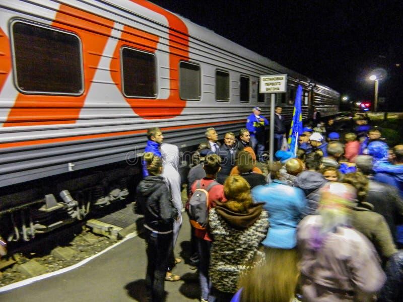La llegada del tren de la campaña del partido democrático liberal ruso imagen de archivo libre de regalías