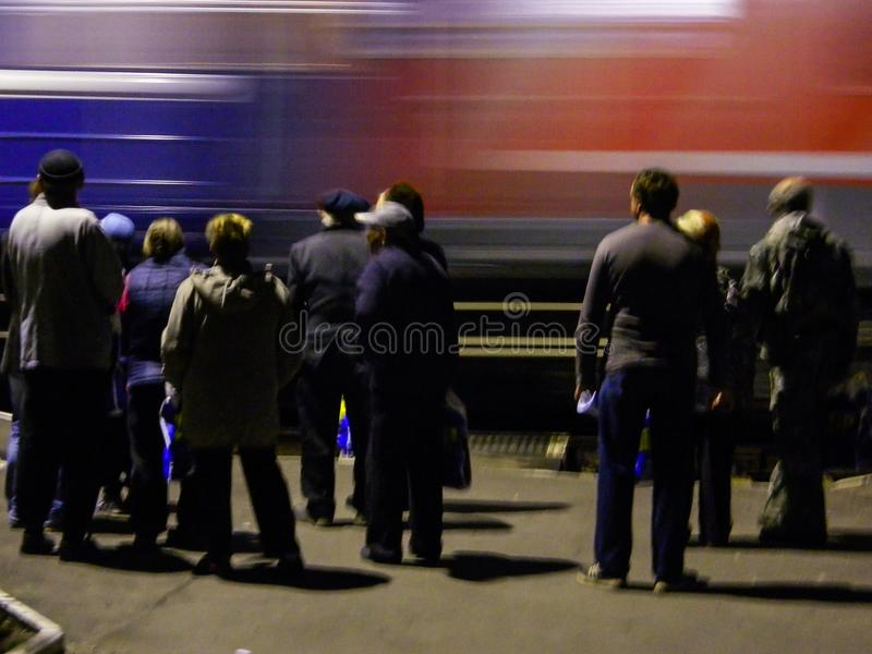 La llegada del tren de la campaña del partido democrático liberal ruso fotos de archivo
